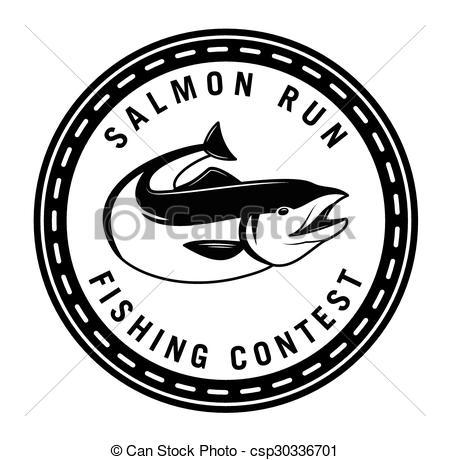 Vector Clipart of Salmon run : Fishing fish badge Salmon fish.