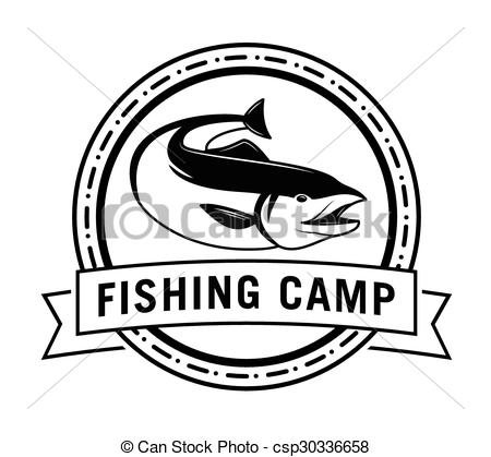 Clipart Vector of Salmon run : Fishing fish badge Salmon fish.