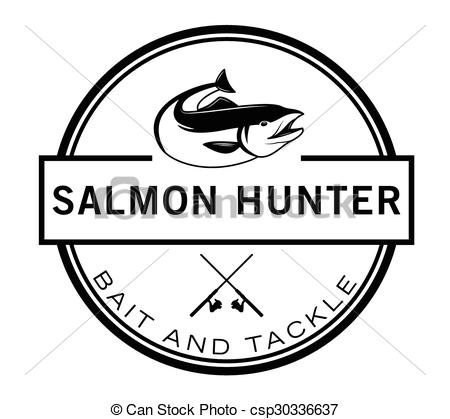 Vectors of Salmon run : Fishing fish badge Salmon fish csp30336637.