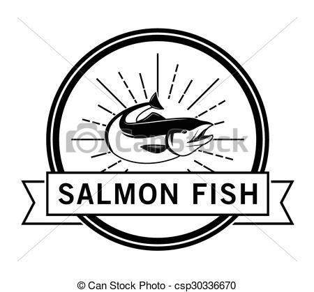 Vectors Illustration of Salmon run : Fishing fish badge Salmon.