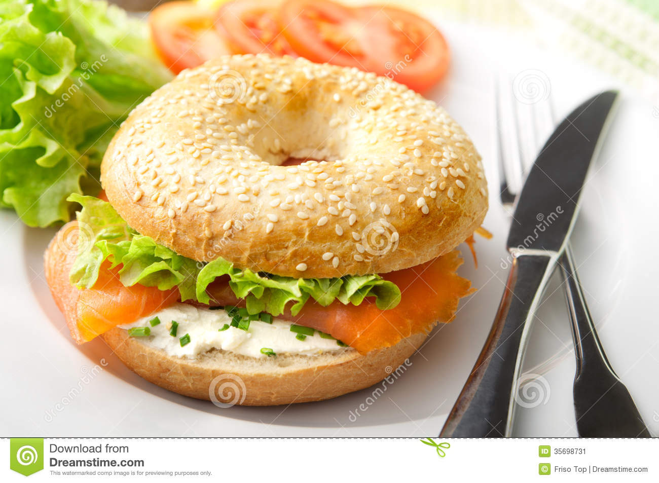 Bagel With Smoked Salmon Stock Image.