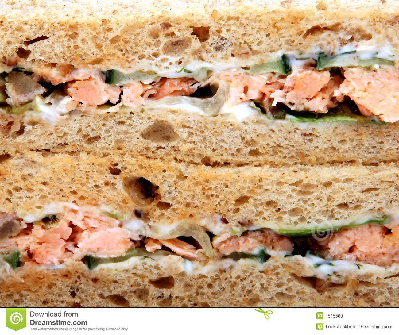 Salmon And Prawn Sandwich Royalty Free Stock Image.
