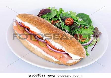 Stock Photo of Smoked Salmon sandwich served with salad we097633.