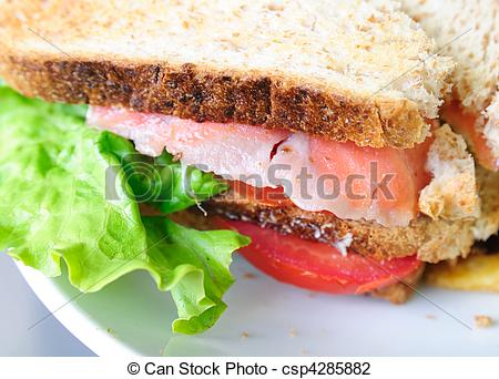 Clip Art of Fresh Salmon Sandwich and French fries csp4285882.