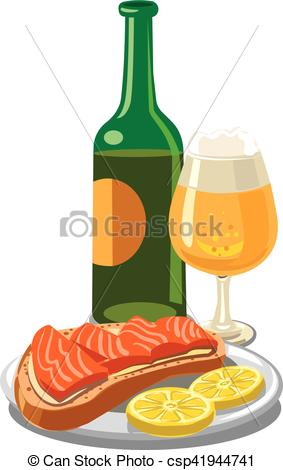 EPS Vector of beer with salmon sandwich.