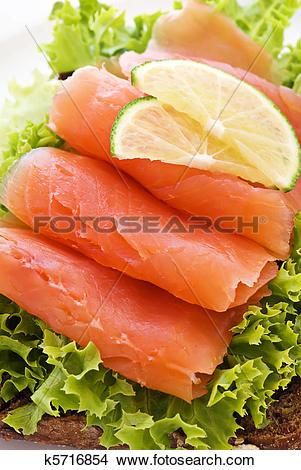Stock Photo of Salmon Sandwich k5716854.
