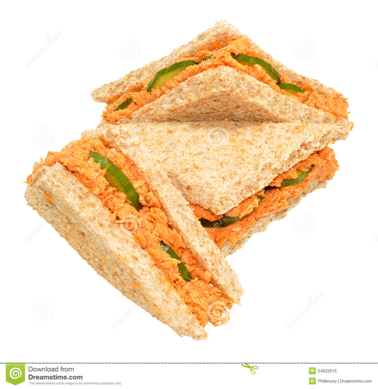 Pink Salmon And Cucumber Sandwich Triangles Stock Photo.