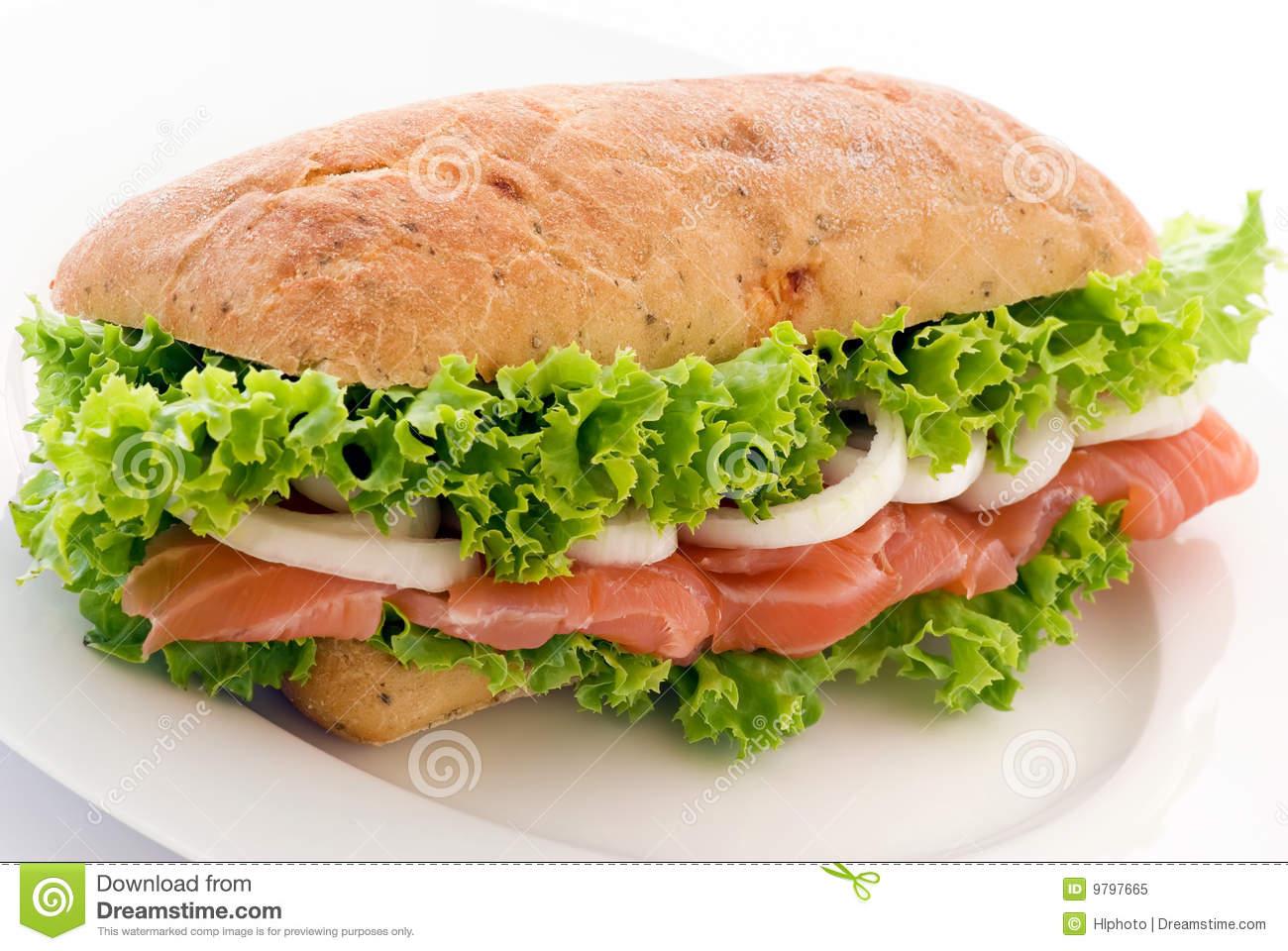 Salmon Sandwich Royalty Free Stock Photo.