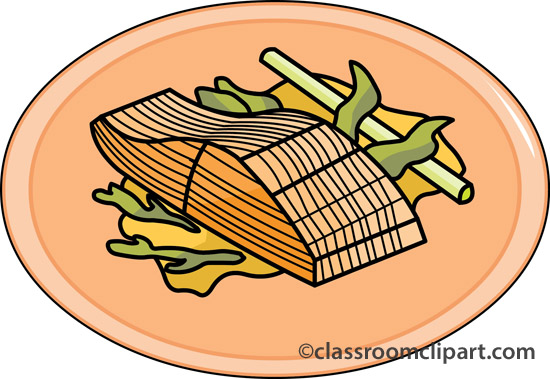 Grilled salmon dinner clipart.