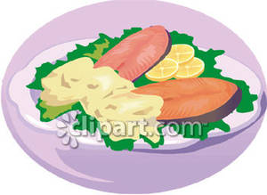 Salmon_Fillets_With_Sauce_and_Lemon_Royalty_Free_Clipart_Picture_081013.