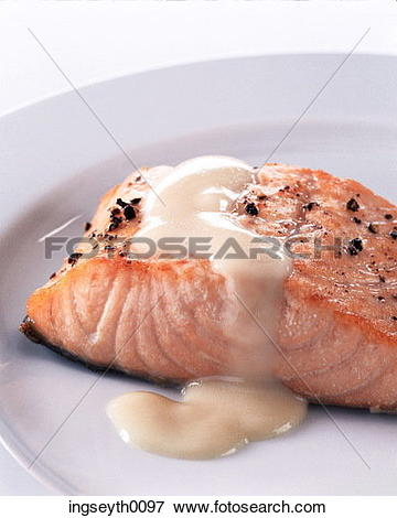Picture of salmon, salmon steak, hollondaise sauce, black pepper.