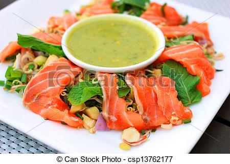 Picture of Spicy salmon salad with wasabi sauce.