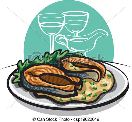 Vector Clip Art of grilled salmon.