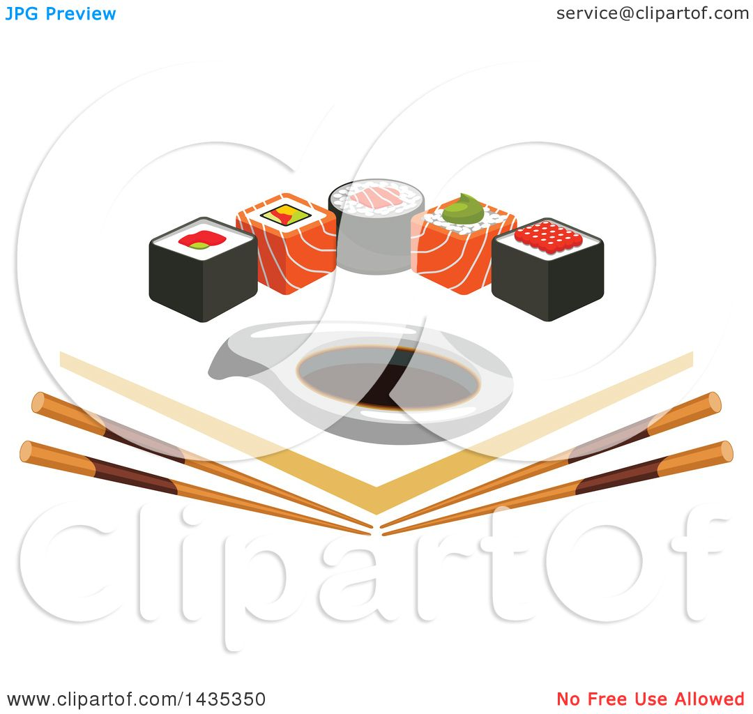 Clipart of a Row of Sushi Rolls with Salmon and Nori over Angled.