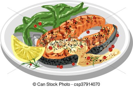 Vectors Illustration of grilled salmon steak on plate with sauce.
