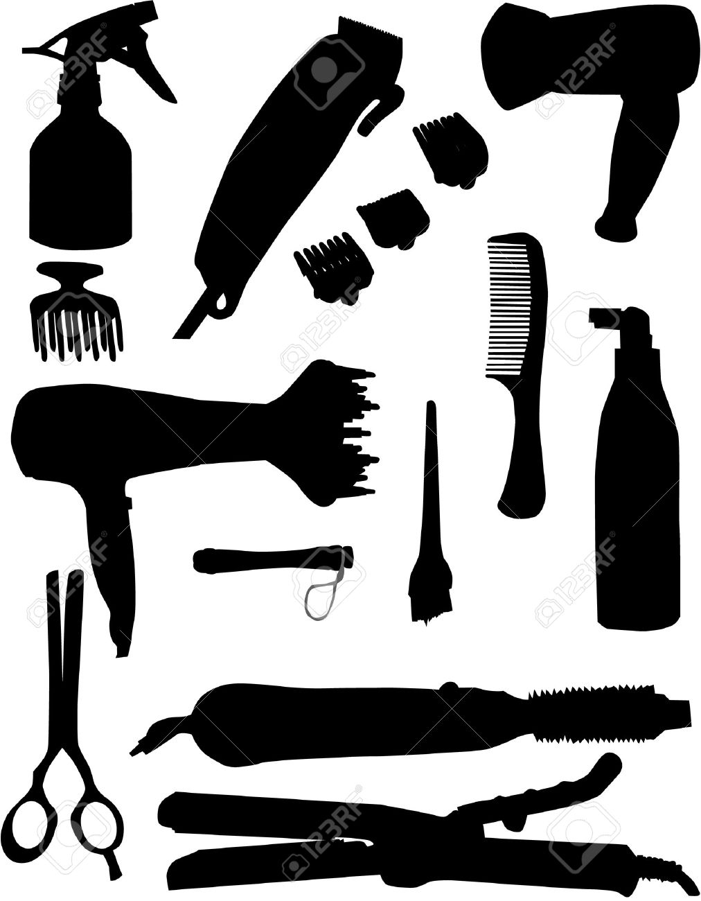 Hair Salon Tools Cliparts.