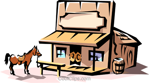 Western saloon Royalty Free Vector Clip Art illustration.