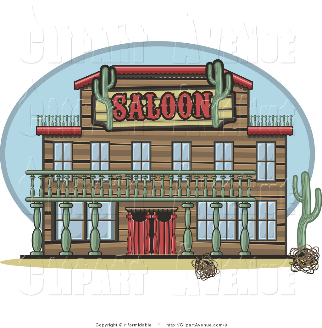 Avenue Clipart of a Western Saloon Facade in the Desert by r.