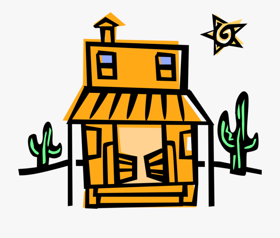 Vector Illustration Of American Old West Western Saloon.
