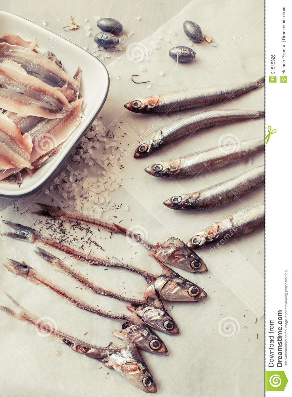 Raw Anchovies On Paper Royalty Free Stock Image.