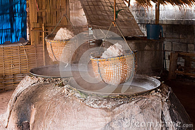Boiled Rock Salt From Ancient Salt Wells, Asia Thailand Stock.