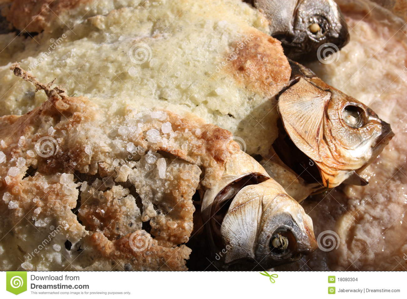 Fish Baked In Salt Crust Stock Photo.
