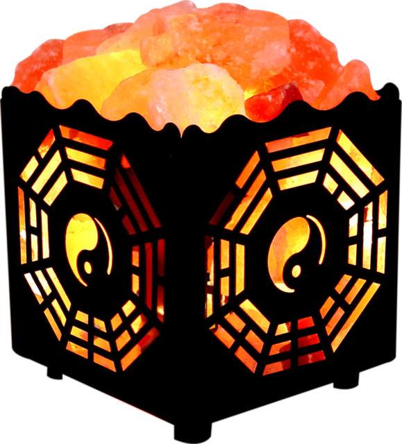 Crystal Decor Natural Himalayan Salt Lamp in Metal Basket W.