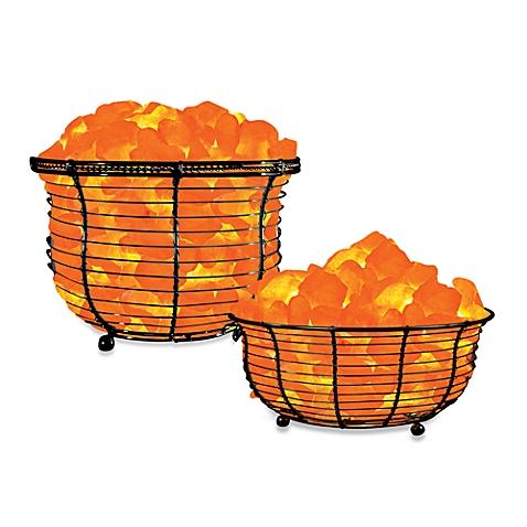 Himalayan Glow® Ionic Crystal Salt Basket Lamp.