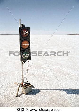 Stock Photograph of Racetrack starting signal on salt flat 331019.