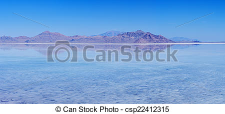 Stock Photography of Flooded Bonneville Salt Flats Reflection.