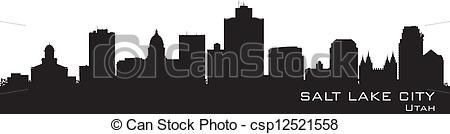 Clipart Vector of Salt Lake City, Utah skyline. Detailed city.