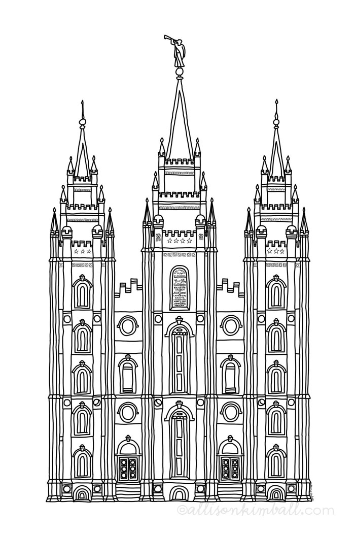 Salt Lake City Temple Silhouette Clipart.