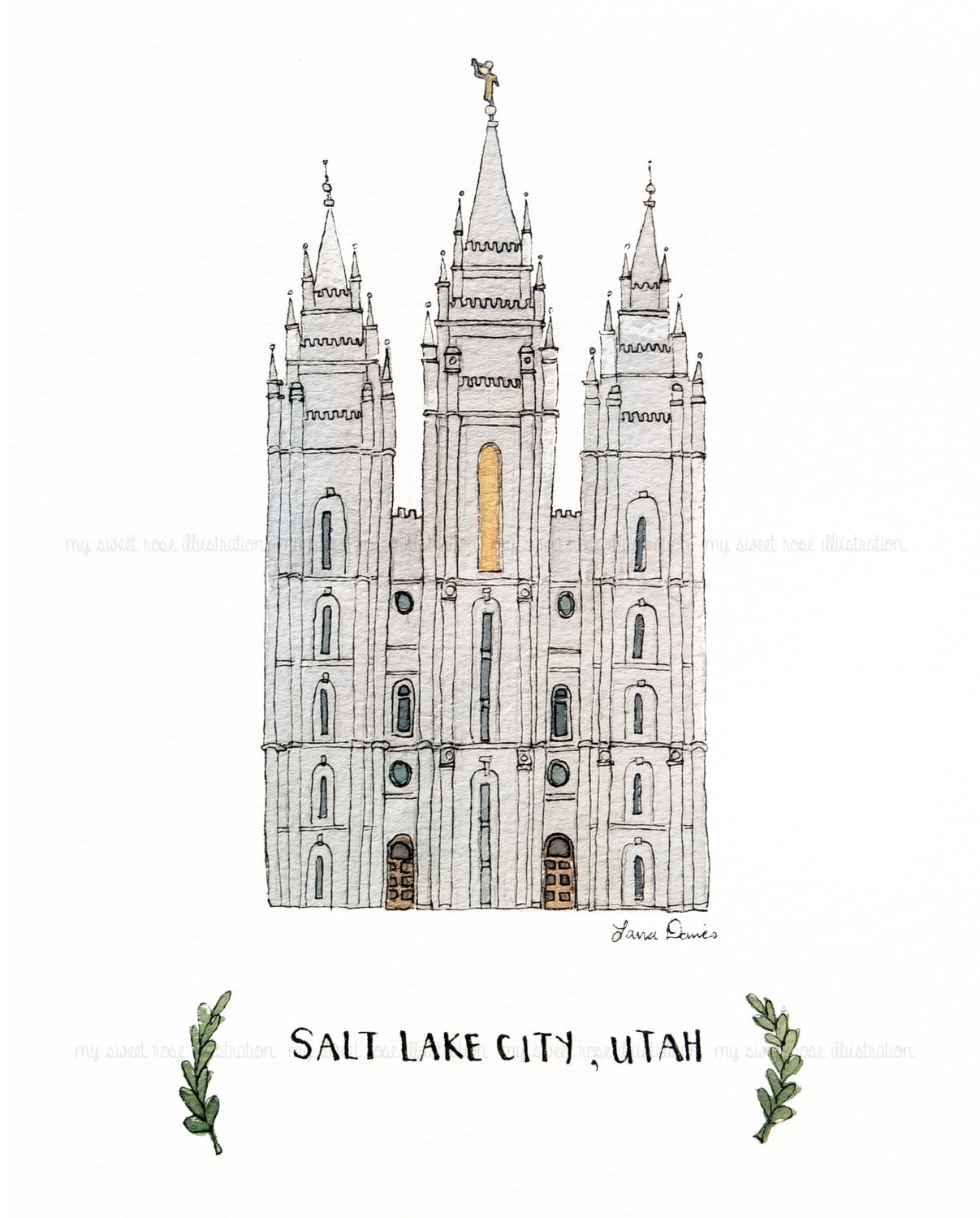 Clip ArtLDS Temple Salt Lake City UT by mysweetroseillustrat.