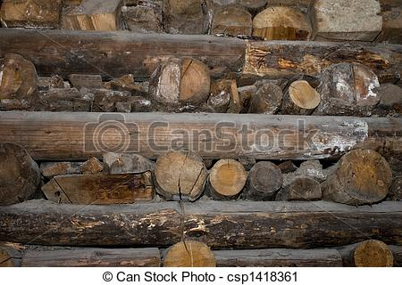 Clipart of Wooden support in salt mine.