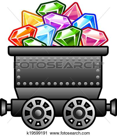 Clipart of Iron mine cart with diamonds k19599191.