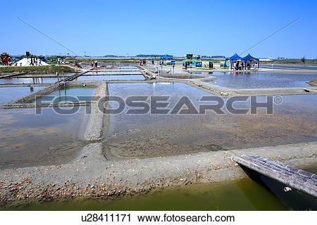 Stock Photography of Salt mountain Pudai Zhounan salt pan Taiwan.