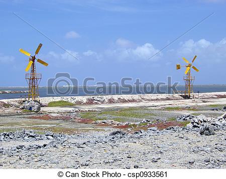 Stock Photography of salt pan windmills.