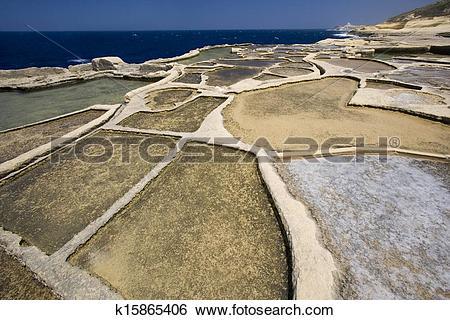 Stock Images of Gozo Salt Pans.