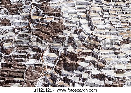 Picture of Salinas salt pans, aerial view detail of terraced.