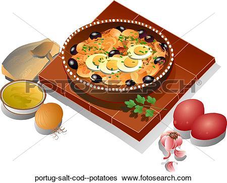 Stock Illustration of Portug. Salt Cod & Potatoes portug.