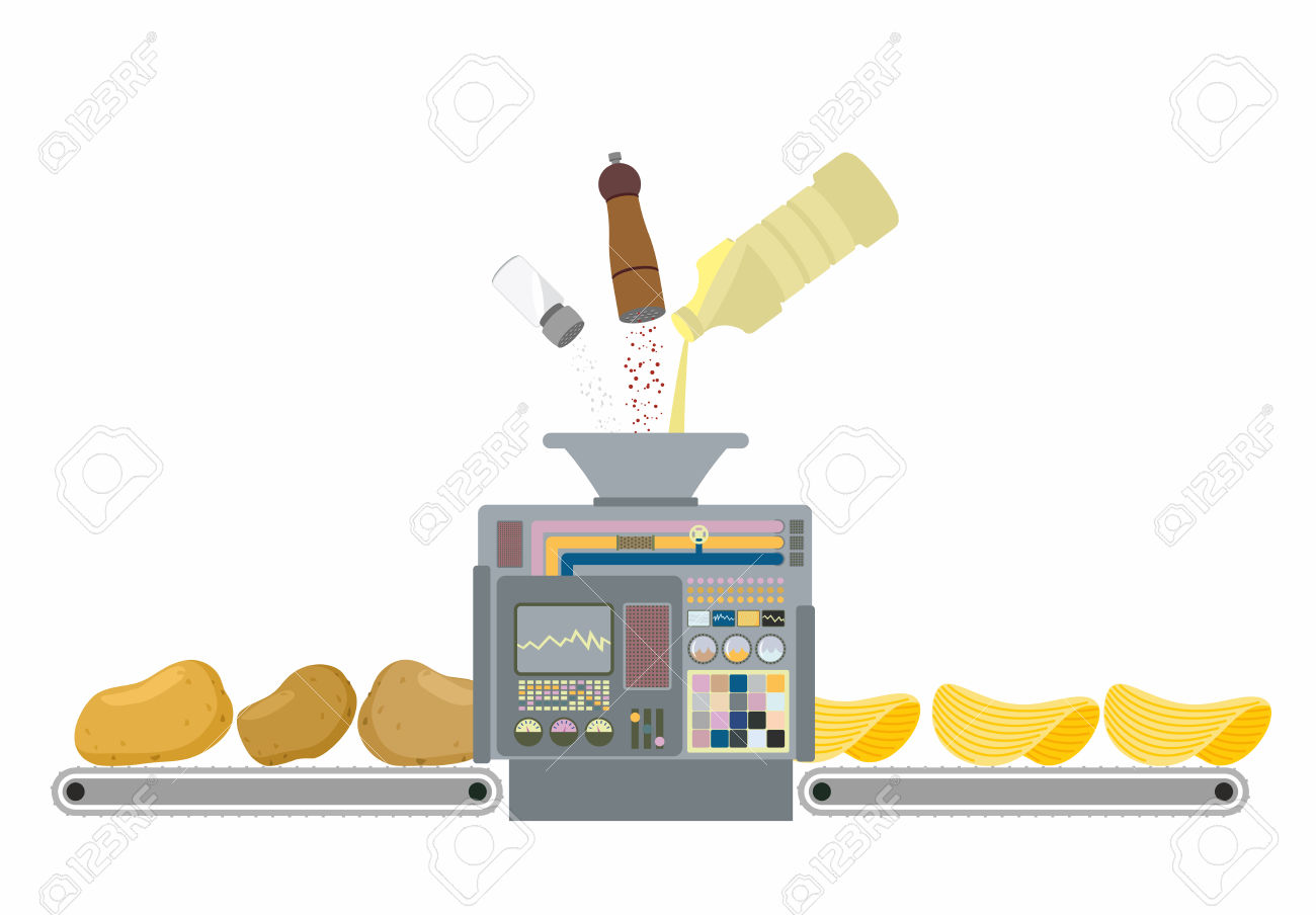 Machine For Making Potato Chips. Production Of Deep Frying.
