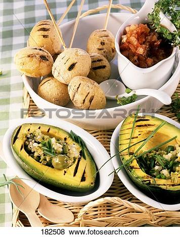 Pictures of Barbecued avocados with olive salad and potatoes with.
