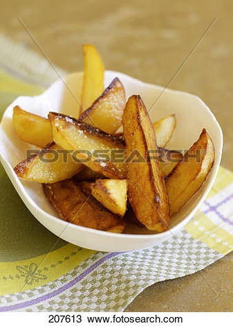 Stock Photo of Fried potatoes with coarse salt 207613.