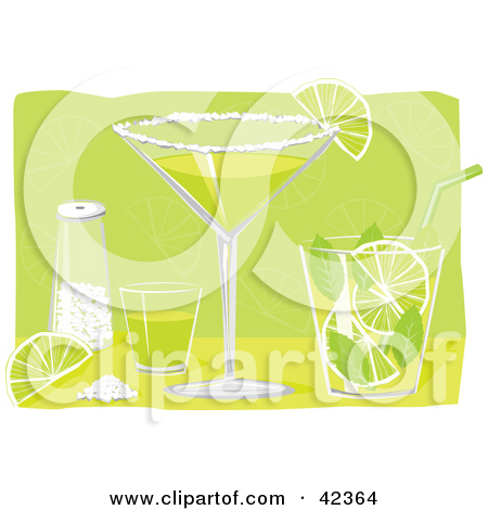Clipart Illustration of a Shot Glass, Salt, Lime, Margarita And.
