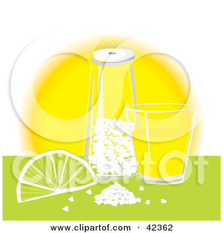 Clipart Illustration of a Wedge Of Lime With Salt On The Rim Of A.