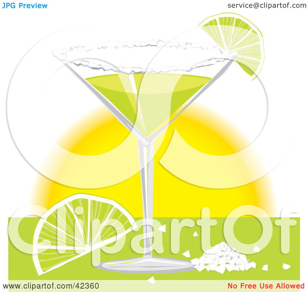 Clipart Illustration of a Margarita Served With Salt And Lime.