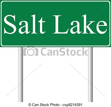 Vector Clip Art of Salt Lake City green road sign isolated on.