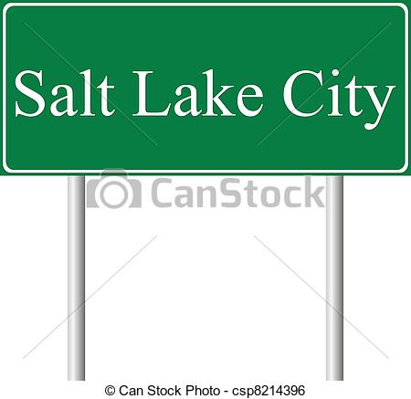 Clip Art Vector of Salt Lake City green road sign isolated on.
