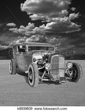 Stock Photograph of 1930s Sedan Hotrod on the Salt k8939839.