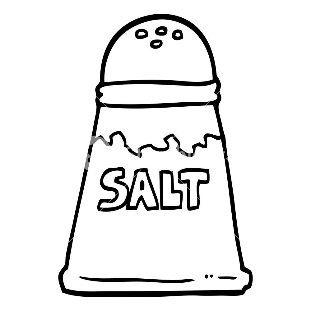 black and white cartoon salt shaker Royalty.